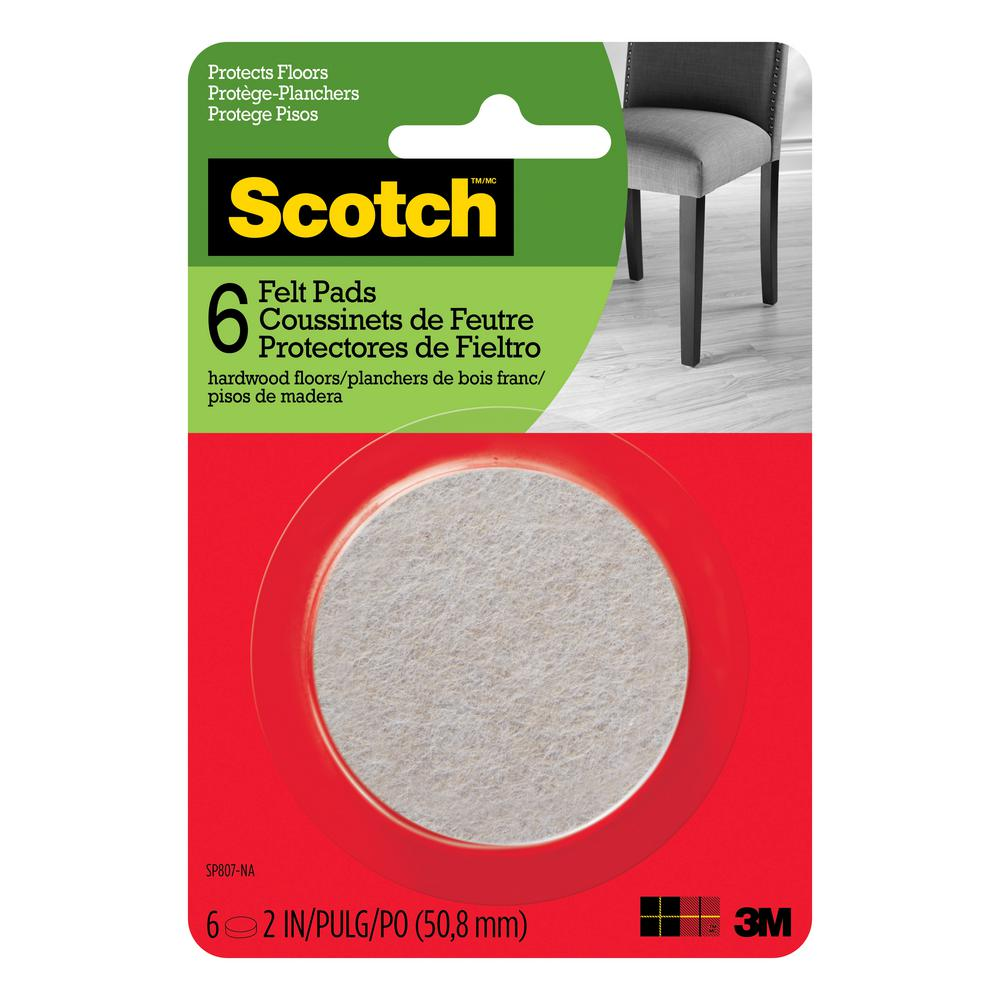 Scotch 2 in. Beige Round Surface Protection Felt Floor Pads ((6-Pack)(Case