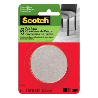 Scotch 2 in. Beige Round Surface Protection Felt Floor Pads ((6-Pack)(Case of 24))