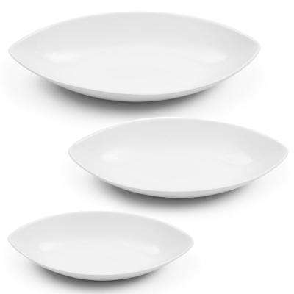 3-Piece White Oval Bowl Set
