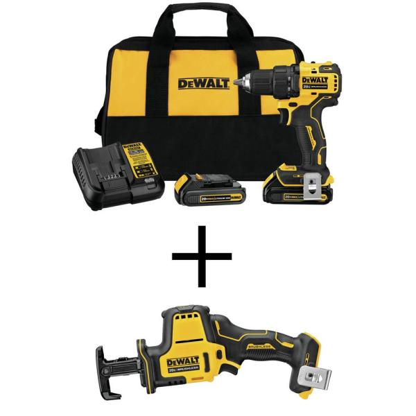 ATOMIC 20-Volt MAX Li-Ion Brushless Cordless Compact 1/2 in. Drill Driver Kit with Bonus Compact Recip Saw (Tool-Only)