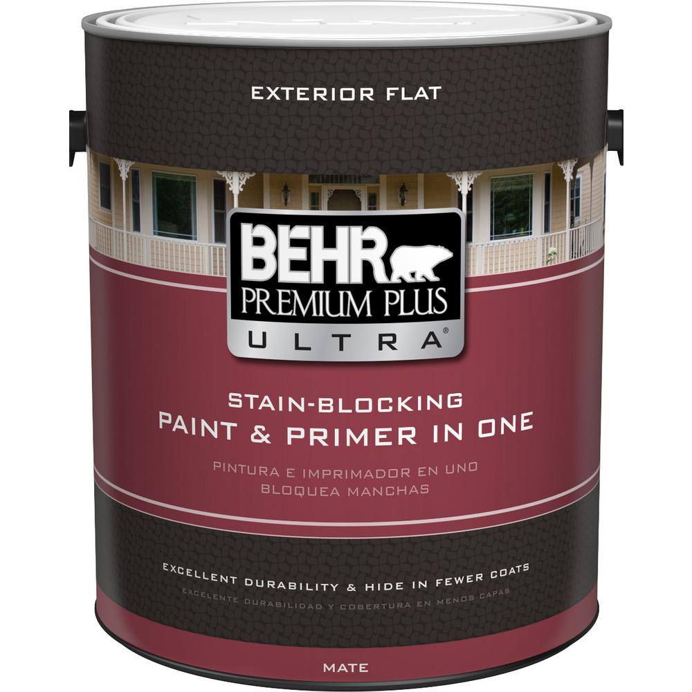 Behr premium plus ultra 1 gal ultra pure white flat exterior paint 485001 the home depot for Behr exterior white paint colors