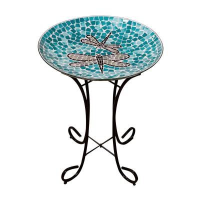 18 in. Dragonfly Duo Mosaic Glass Birdbath with Metal Stand
