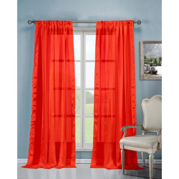 Ikiana Red Polyester Sheer Pole Top Curtain 40 in. W x 84 in. L (2-Pack)