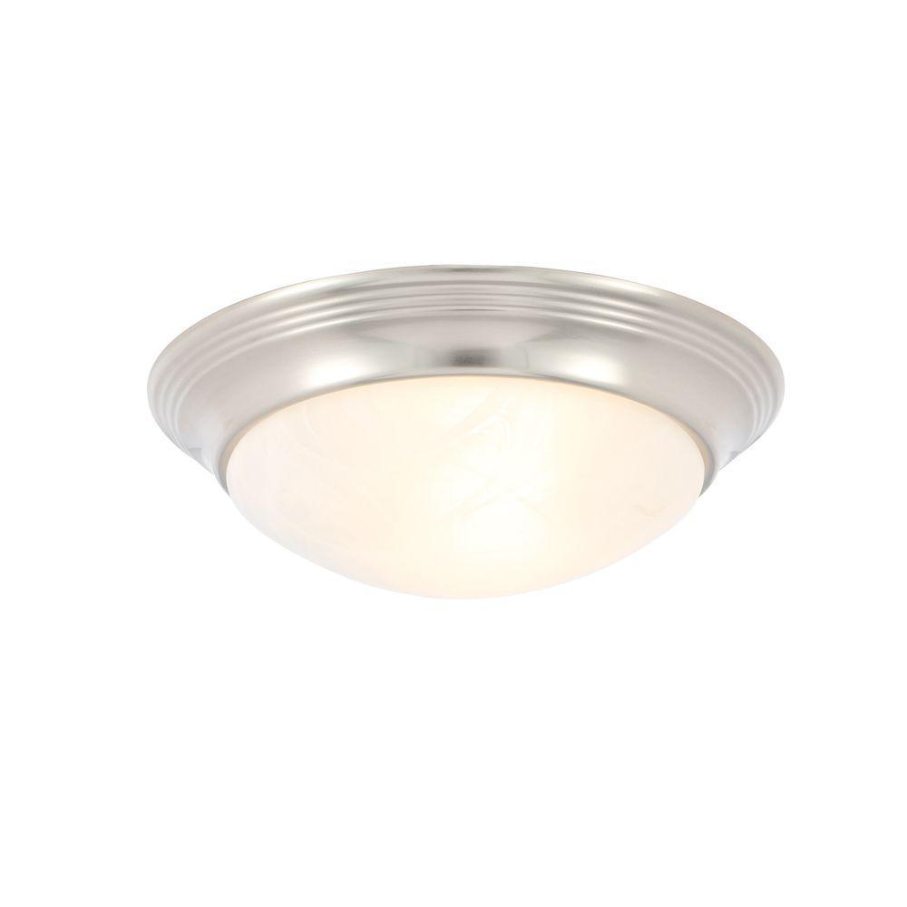 Progress Lighting Alabaster Glass Collection 1-Light Brushed Nickel Flushmount