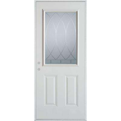 33.375 in. x 82.375 in. V-Groove 1/2 Lite 2-Panel Painted White Right-Hand Inswing Steel Prehung Front Door