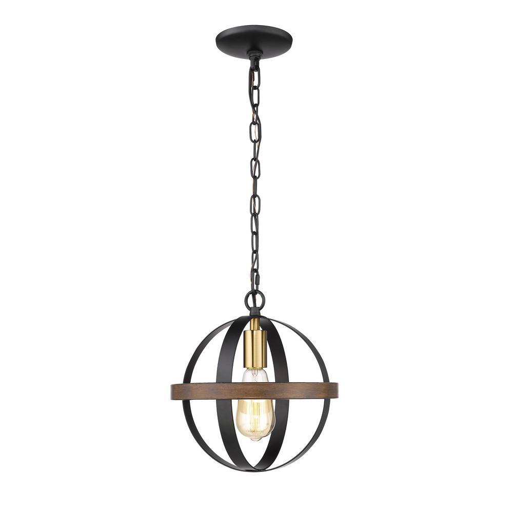 12 in. 1-Light Matte Black/Heirloom Bronze Outdoor Pendant
