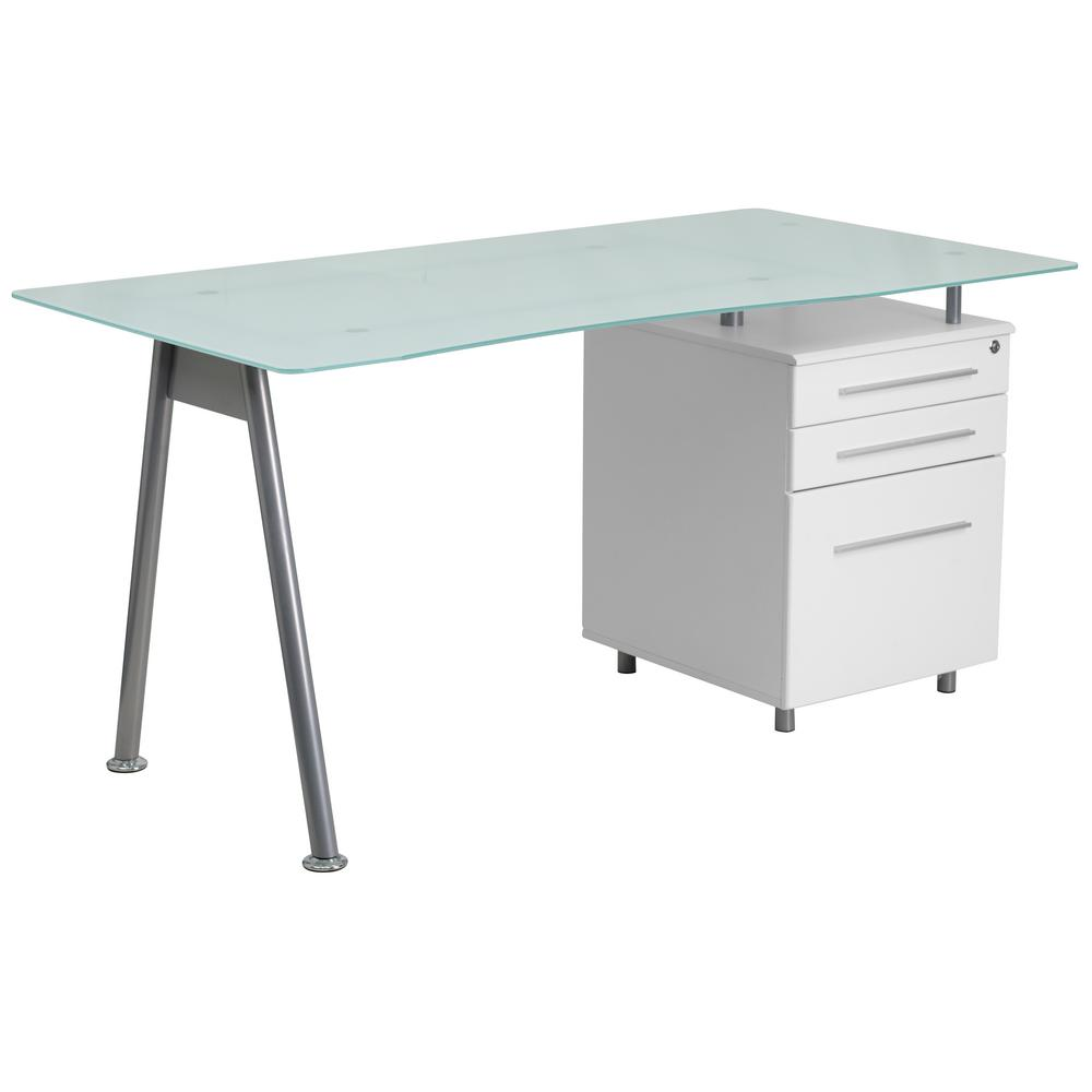 Flash Furniture White Computer Desk With Glass Top And 3 Drawer Pedestal