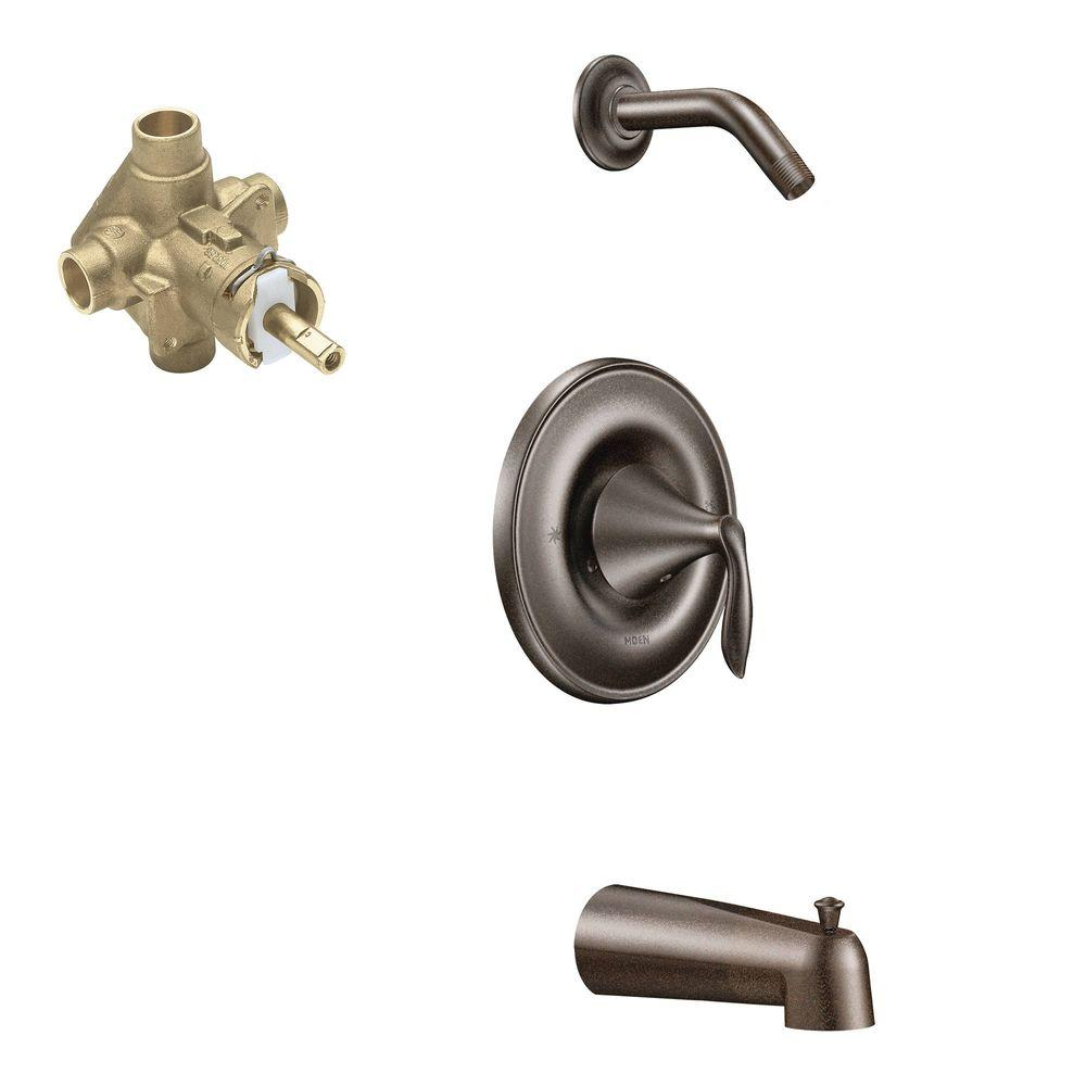 MOEN Eva Single-Handle 1-Spray Posi-Temp Tub and Shower Faucet with Valve in Oil Rubbed Bronze (Valve Included)
