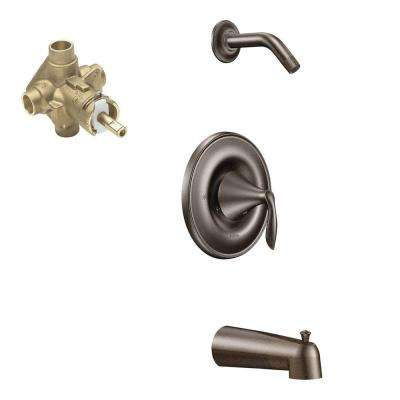 Eva Single-Handle 1-Spray Posi-Temp Tub and Shower Faucet with Valve in Oil Rubbed Bronze (Valve Included)
