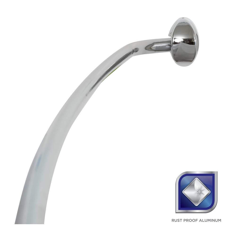 Rustproof 72 in. Adjustable Permanent Mount Curved Shower Rod in Chrome