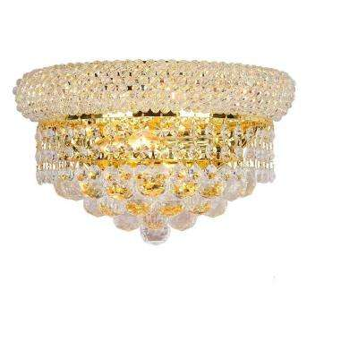 Empire Collection 2-Light Gold Sconce with Clear Crystal