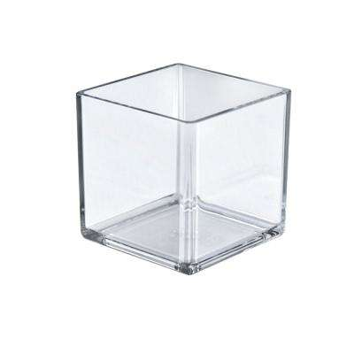 5 in. W x 5 in. D x 5 in. H Crystal Styrene Square Display Cube (4-Pack)
