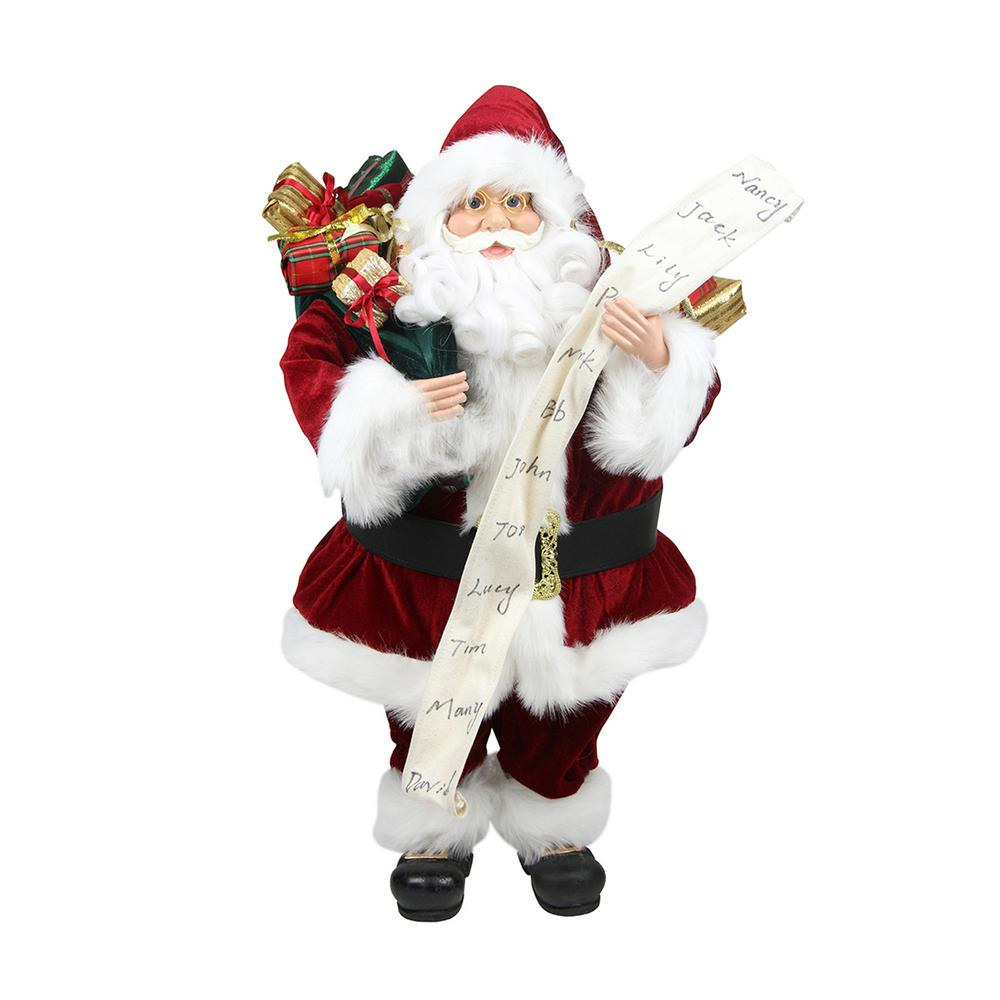 Northlight 24 in. Standing Santa Claus with Naughty or Nice List and Bag of Presents Christmas Figure This Santa Claus is full of Christmas charm and would make a jolly addition to your holiday decor. Santa is wearing his traditional red and white suit with his bag of gifts over his shoulder and the naughty or nice list in his hand. Santa features jolly blue eyes round chubby cheeks and friendly smile. Santa feet is hat has a jingle bell at the end. Recommended for indoor use. Dimensions: 24 in. H x 14 in. W x 12 in. D. Materials plastic/fabric.