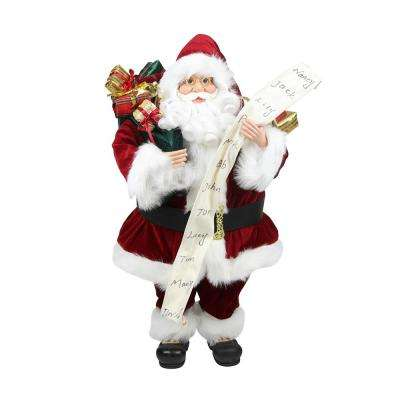 24 in. Standing Santa Claus with Naughty or Nice List and Bag of Presents Christmas Figure