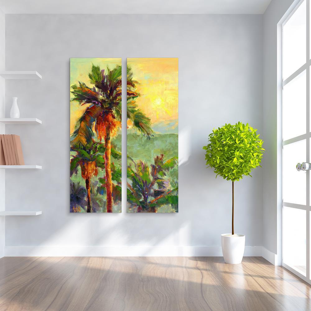 """60 in. x 20 in. """"Desert Oasis 2"""" 2 Piece Digital Print on Fresco Jute Wall Art"""