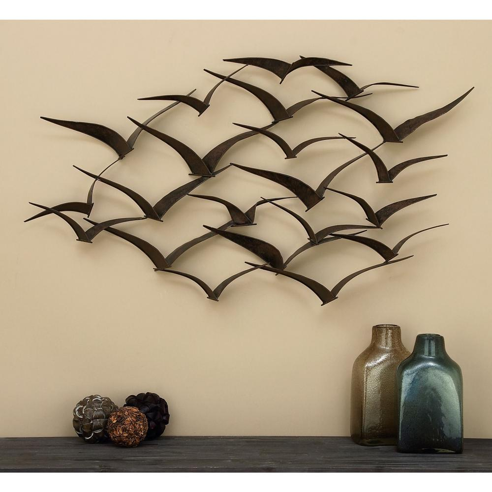 In flight 47 in flock of birds metal wall sculpture 80954 for Plaque metal decorative pour jardin