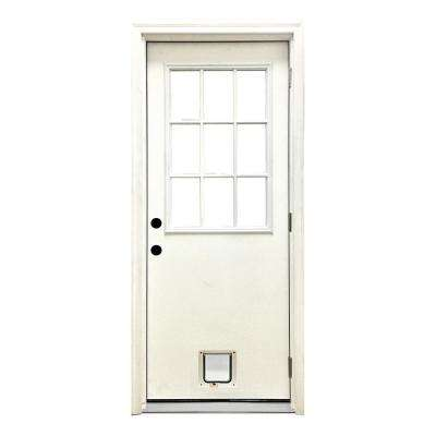 32 in. x 80 in. Classic Clear 9 Lite LHOS White Primed Fiberglass Prehung Front Door with Small Cat Door