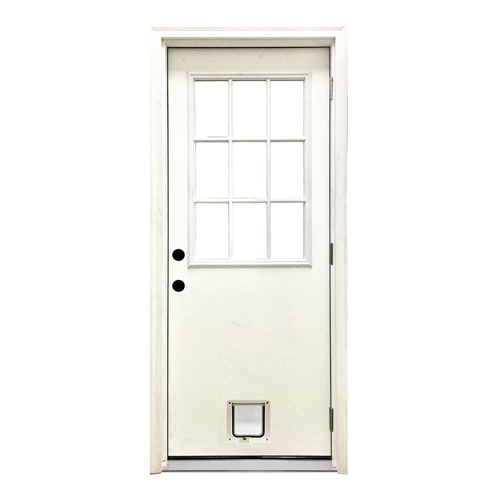 32 in. x 80 in. Classic 9 Lite LHOS White Primed Textured Fiberglass Prehung Front Door with Small Cat Door