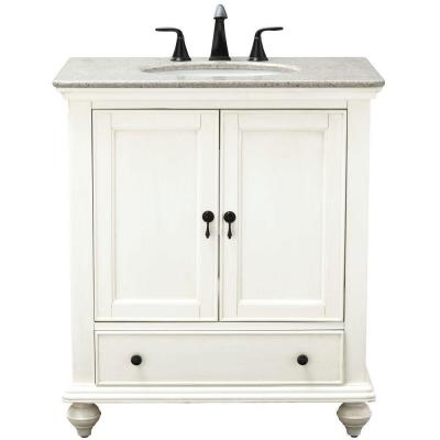 Newport 31 in. W x 21.50 in. D Bath Vanity in Ivory with Granite Vanity Top in Champagne with White Sink