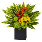 Indoor Heliconia and Calla Lilies Vibrant Silk Arrangement in Planter