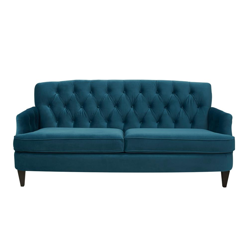 Ordinaire Jennifer Taylor Kelly Satin Teal Hand Tufted Sofa