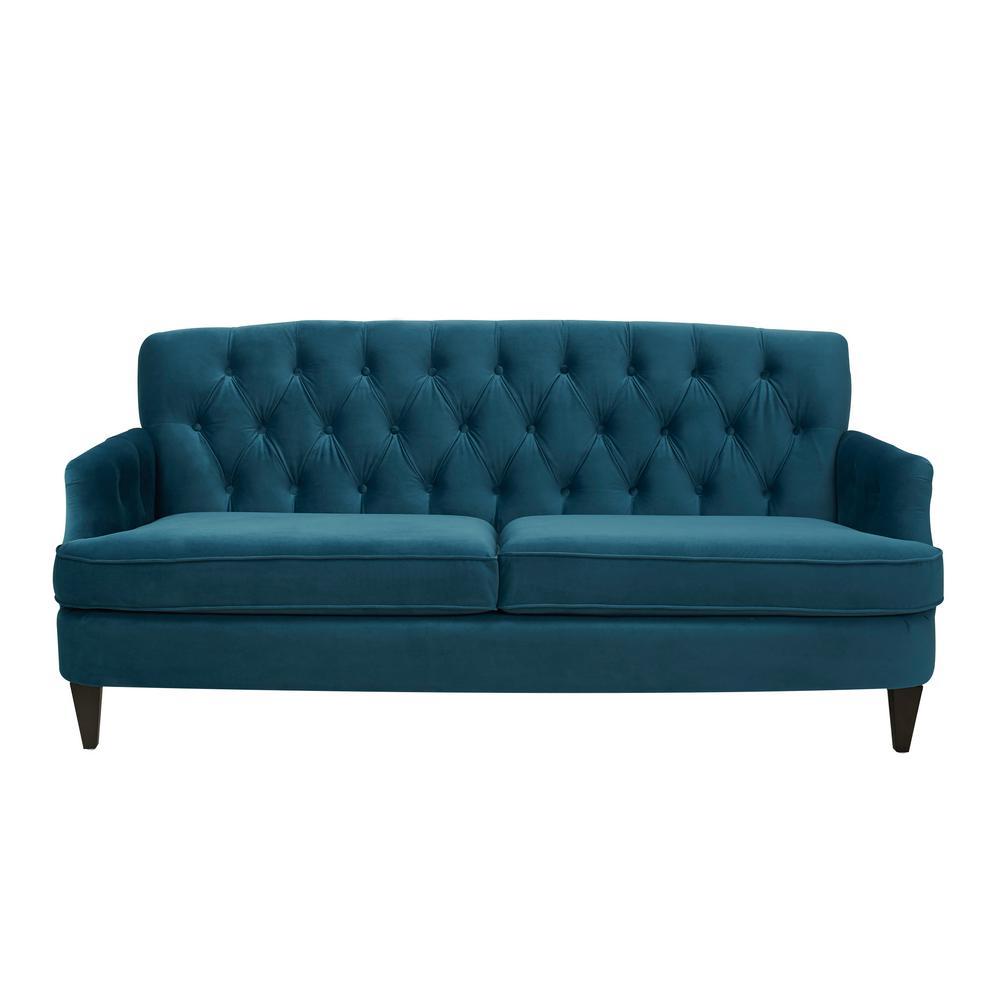 Jennifer Taylor Satin Teal Hand Tufted Sofa