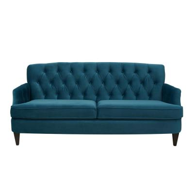 Kelly 75 in. Satin Teal Velvet 3-Seater Camelback Sofa with Round Arms
