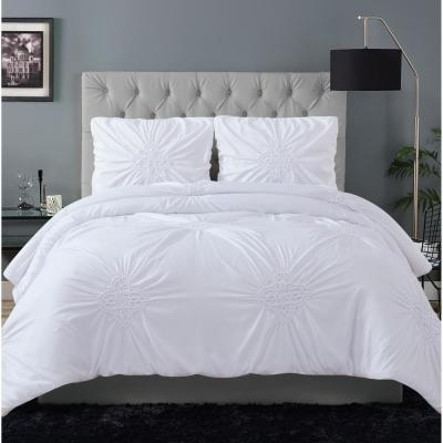 Georgia Rouched 3-Piece Grey Full/Queen Duvet Cover Set