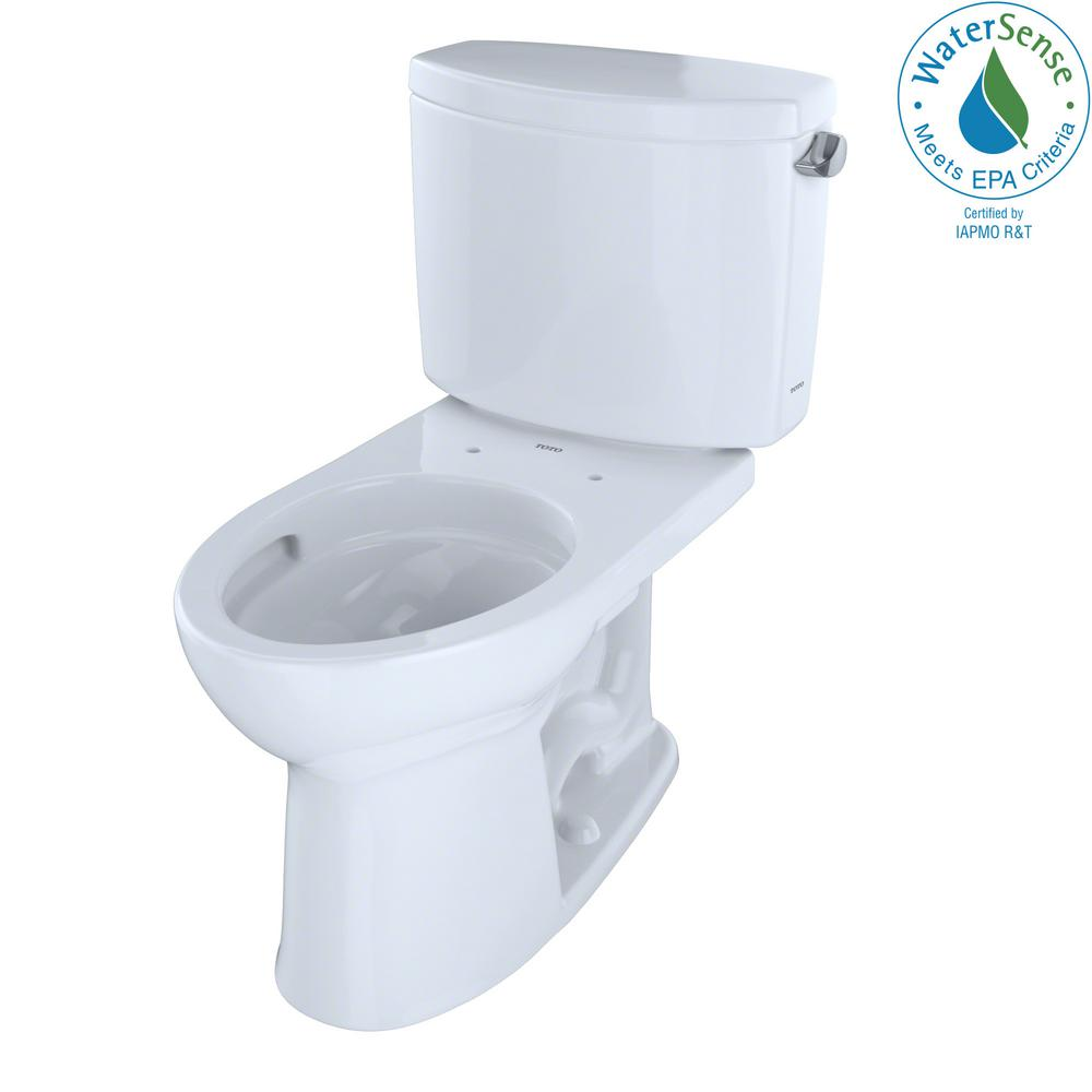 TOTO Drake II 2-Piece 1.28 GPF Single Flush Elongated Toilet with ...