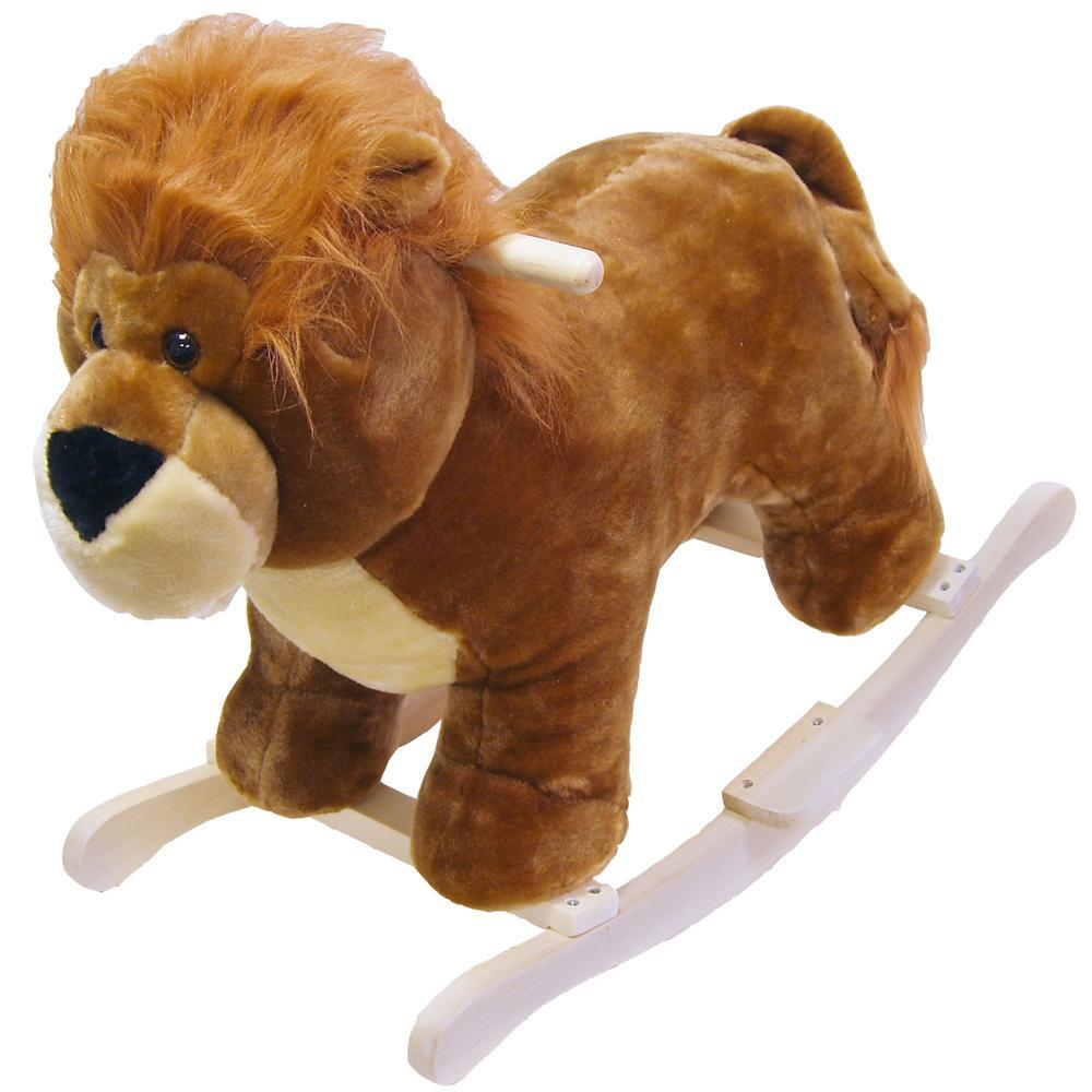 Plush Brown Rocking Lion Animal