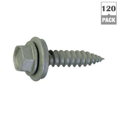 #9 x 1 in. Fine Steel Hex-Head Sharp Point Roofing Screws (120-Pack)