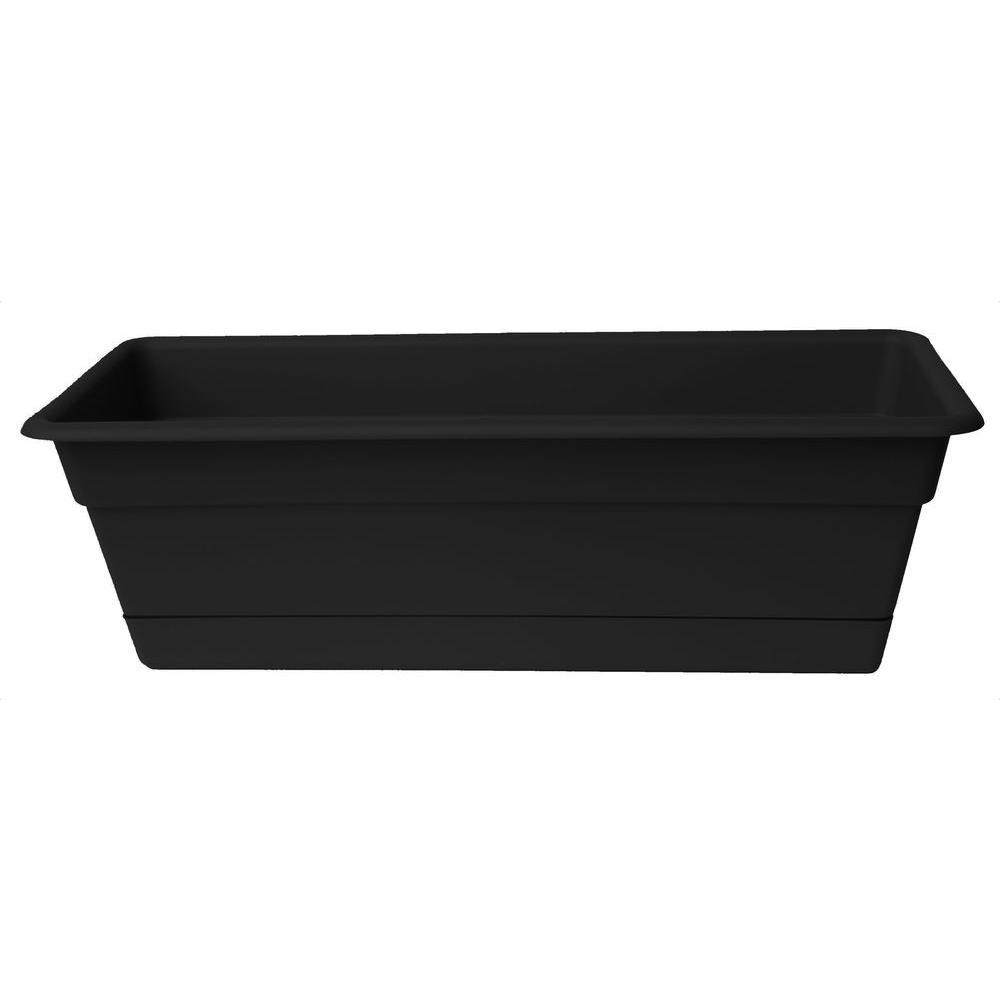 Dura Cotta 18 in. Black Plastic Window Box Planter with Tray