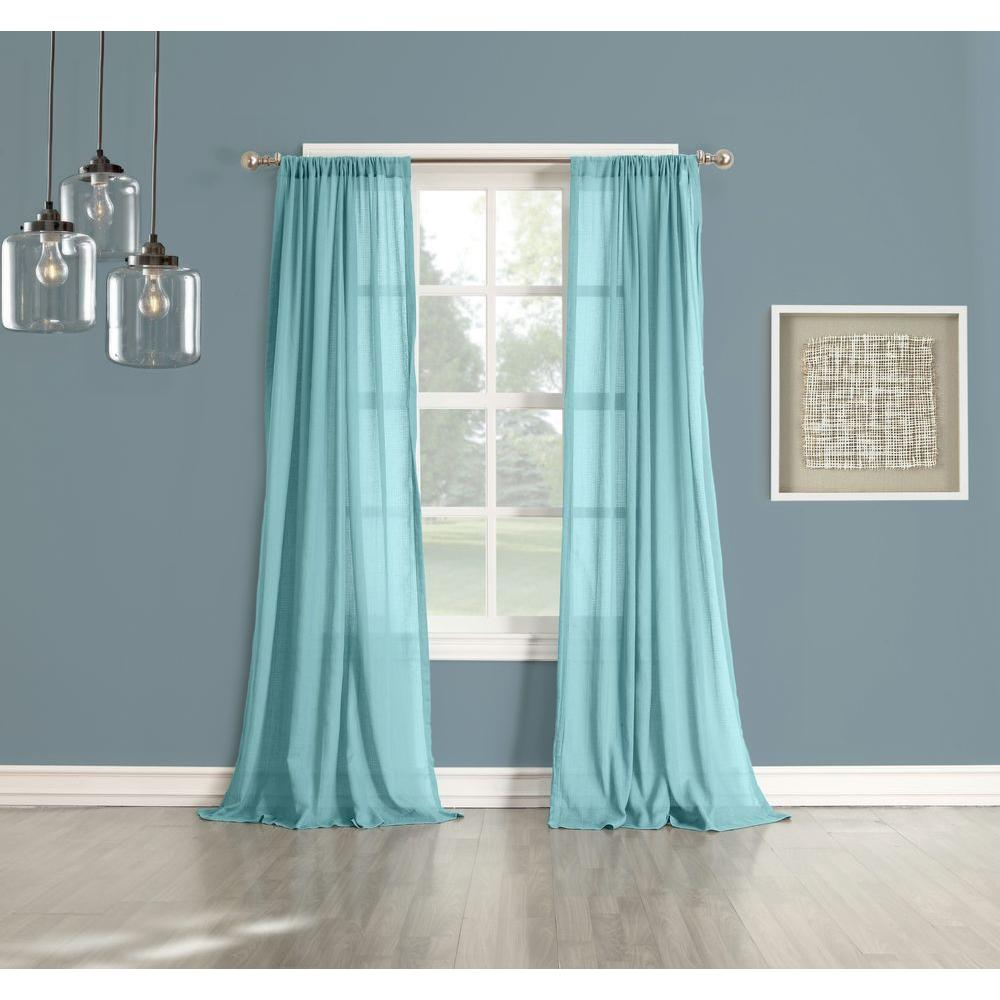 918 Millennial Henderson Aqua Cotton Gauze Curtain Panel 44042   The Home  Depot