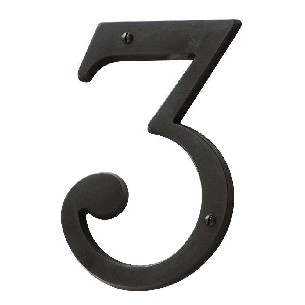 Oil Rubbed Bronze House Number 3