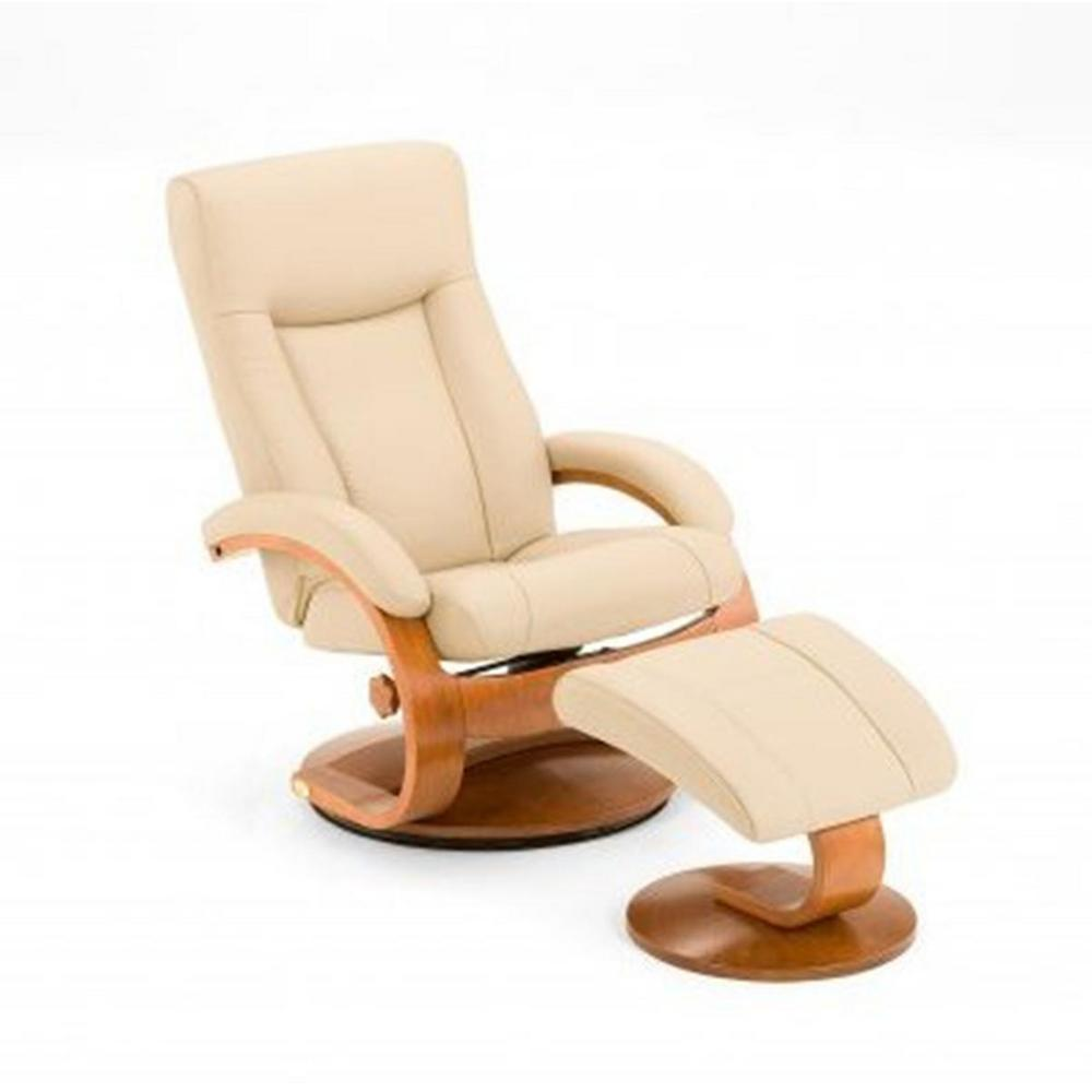 Mac Motion Oslo Collection Cobblestone Top Grain Leather Swivel Recliner with Ottoman