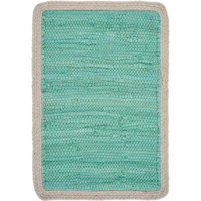 19 in. x 13 in. Bordered Turquoise Placemat (Set of 4)
