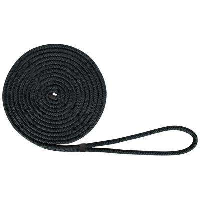 BoatTector 1/2 in. x 20 ft. Double Braid Nylon Dock Line in Black