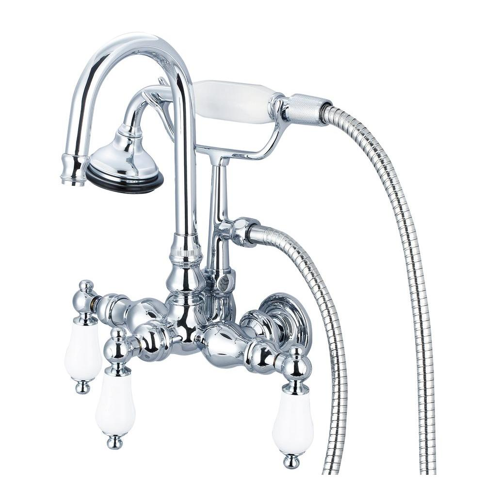 3-Handle Vintage Claw Foot Tub Faucet with Hand Shower and Porcelain