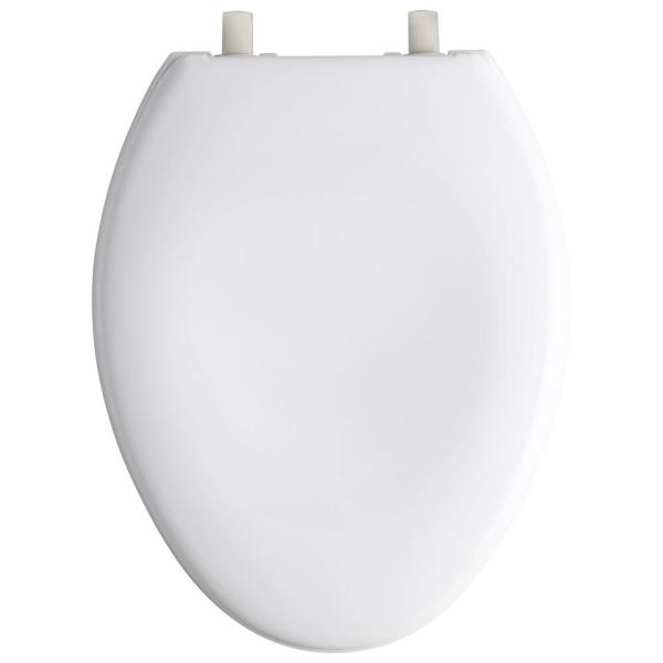 Kohler Bancroft Elongated Closed Front Toilet Seat With Vibrant Brushed Nickel Hinge In White K 4685 Bn 0 The Home Depot