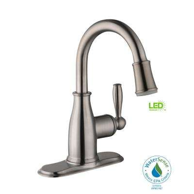 Mandouri 4 in. Centerset Single-Handle LED High-Arc Bathroom Faucet in Brushed Nickel