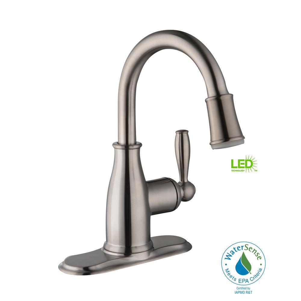 Mandouri Single Hole Single-Handle LED High-Arc Bathroom Faucet in Brushed Nickel