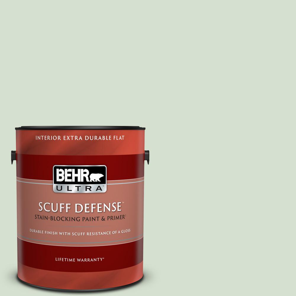 Behr Ultra Scuff Defense 1 Gal S400 2 Comforting Green Extra Durable Flat Interior Paint And Primer In One 172001 The Home Depot