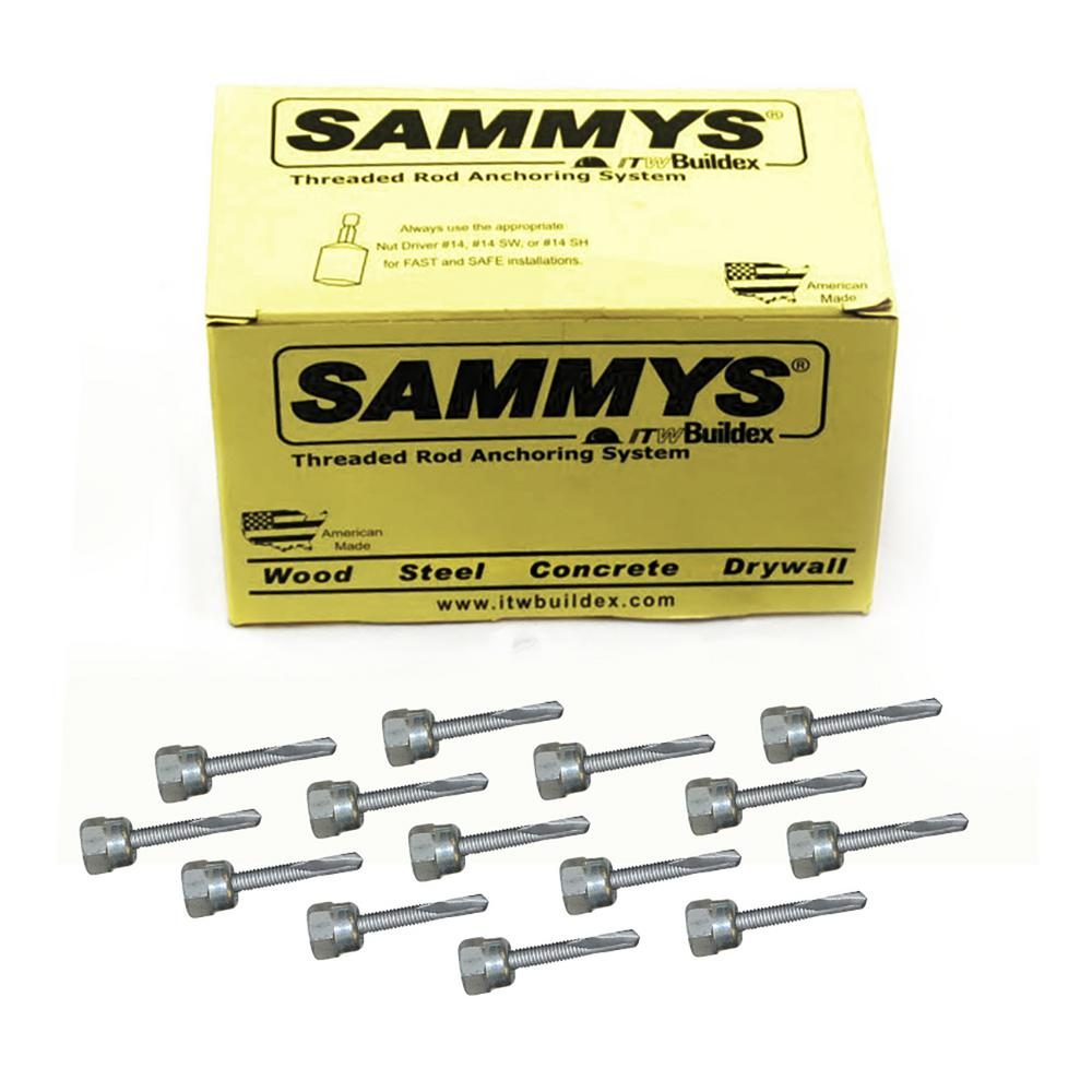 Sammys 1/4-14 in. x 1-1/2 in. Vertical Rod Anchor Super Screw with Teks and 3/8 in. Threaded Rod Fitting for Steel (25-Pack)