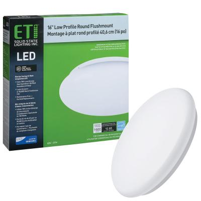 16 in. 22-Watt Low Profile Round Integrated LED Flush Mount Ceiling Light 1600 Lumens 4000K Bright White 120-277V