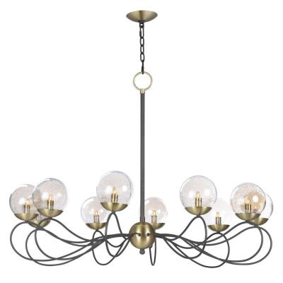 Reverb 38 in. W 10-Light Textured Bronze/Satin Brass Chandelier with Topaz Bubble Glass Shade