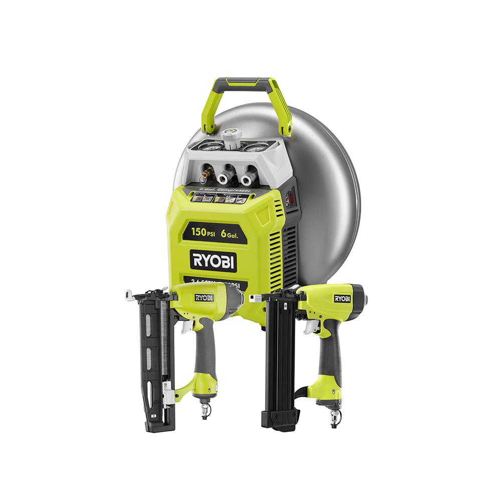 ryobi 6 gal electric pancake compressor 2 tool combo kit yg62ckn the home depot. Black Bedroom Furniture Sets. Home Design Ideas