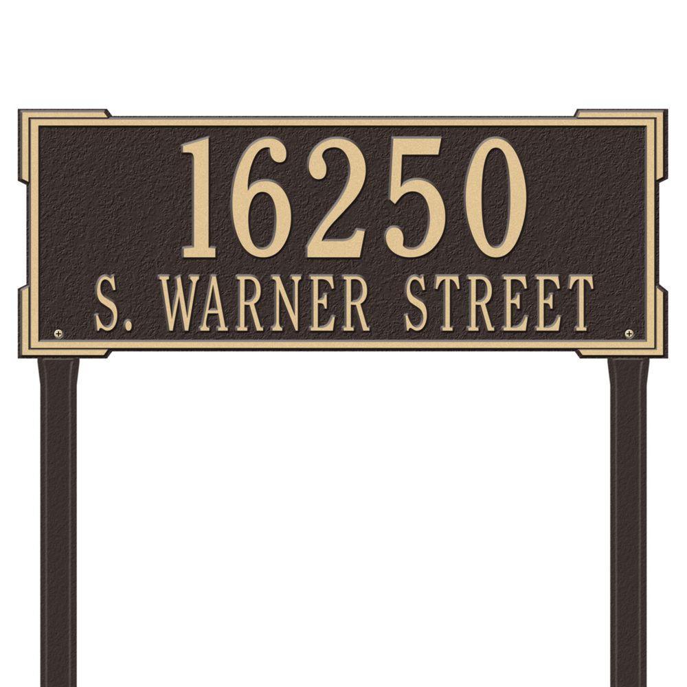 Whitehall Products Rectangular Roanoke Estate Lawn 2-Line Address Plaque - Bronze/Gold
