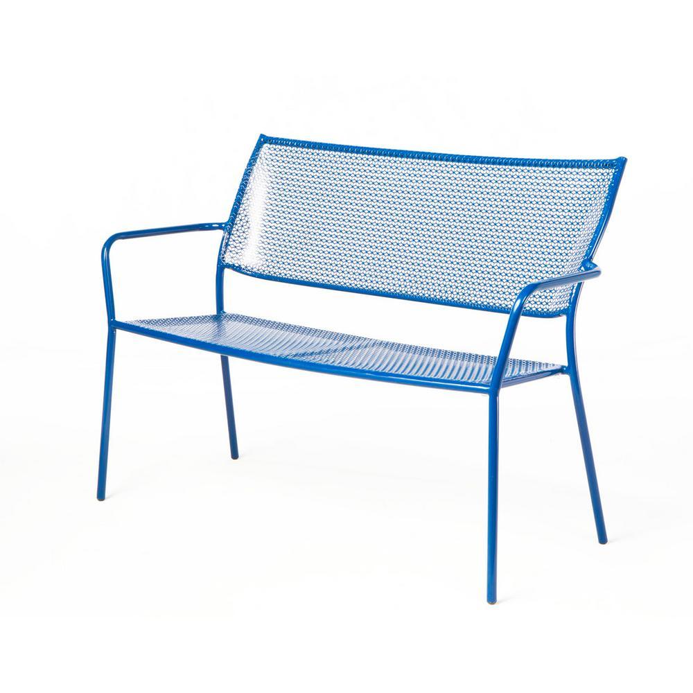 Alfresco Martini Etta Blue Finish 24 in. Metal Outdoor Garden Bench