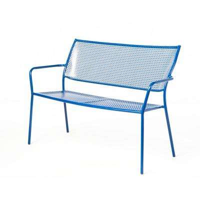 Martini Etta Blue Finish 24 in. Metal Outdoor Garden Bench