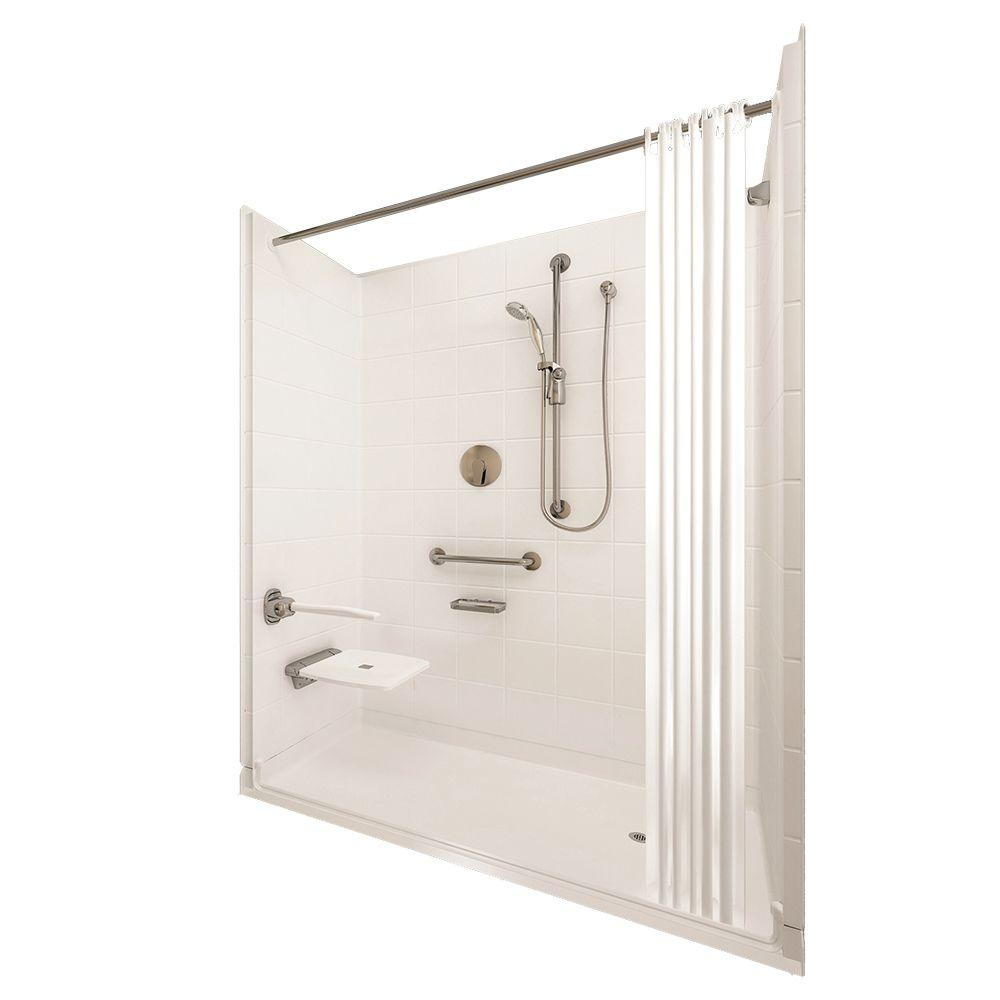 Ella Elite Brilliant 33-4/12 in. x 60 in. x 77-1/2 in. 5-piece Barrier Free Roll In Shower System in White with Right Drain